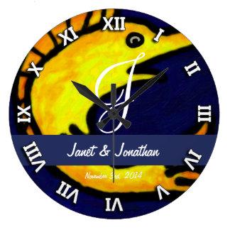 Funny Fish Monogram Large Clock