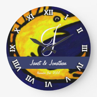 Funny Fish Monogram Wall Clock