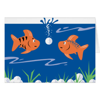 funny fish pondering golf balls underwater card