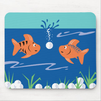 funny fish pondering golf balls underwater mouse pad