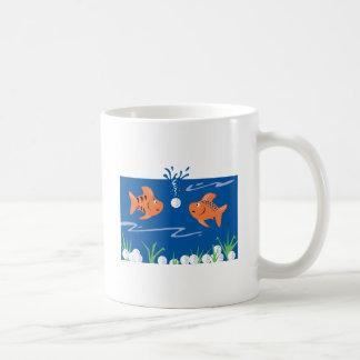 funny fish pondering golf balls underwater classic white coffee mug