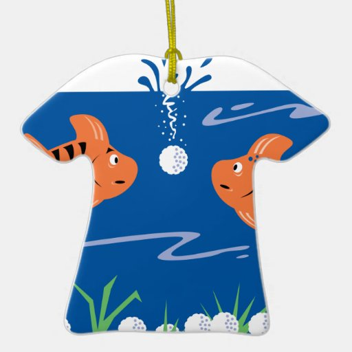 funny fish pondering golf balls underwater ornament
