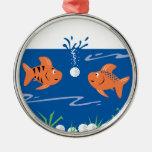 funny fish pondering golf balls underwater christmas ornament