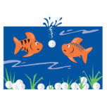 funny fish pondering golf balls underwater photo cut out