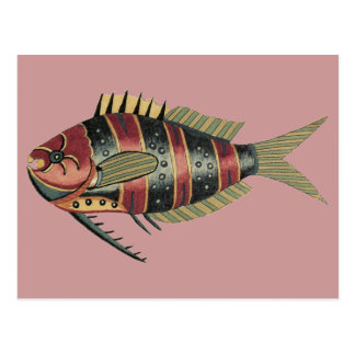Funny Fish Striped Postcard