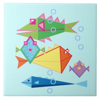 Funny fish with bubbles large square tile