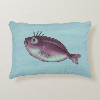 Funny Fish With Fancy Eyelashes Digital Art Decorative Pillow