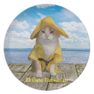 Funny Fisherman Cat in Yellow Slicker Melamine Plate