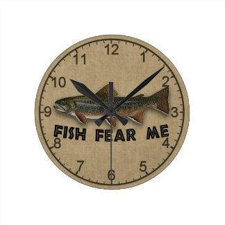 Funny Fisherman  Fish Fear Me Round Wallclock