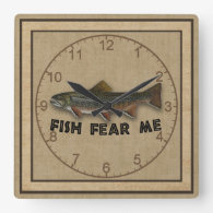 Funny Fisherman Fish Fear Me Clock