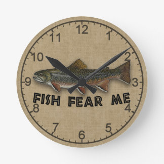 Funny Fisherman  Fish Fear Me Round Wallclock