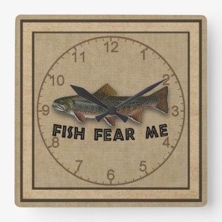 Funny Fisherman  Fish Fear Me Square Wall Clock