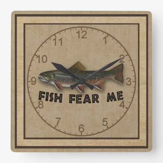 Funny Fisherman  Fish Fear Me Square Wall Clock