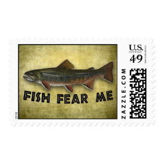 Funny Fisherman  Fish Fear Me Stamp