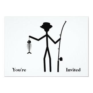 Funny Fisherman Stick Figure Holding Fish Bones Card