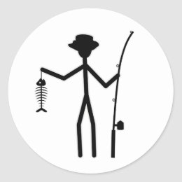 Funny Fisherman Stick Figure Holding Fish Bones Classic Round Sticker