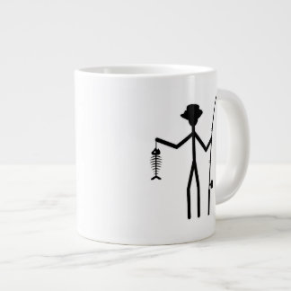 Funny Fisherman Stick Figure Holding Fish Bones Giant Coffee Mug
