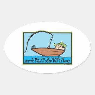 Funny Fisherman's Oval Sticker