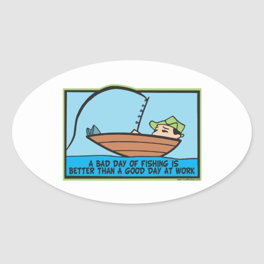 Funny Fisherman's Oval Sticker