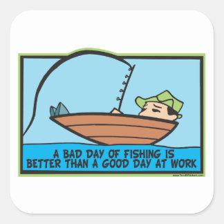 Funny Fisherman's Square Sticker