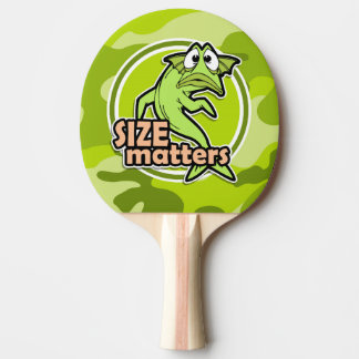 Funny Fishing; bright green camo, camouflage Ping Pong Paddle