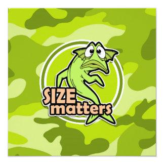 Funny Fishing; bright green camo, camouflage 5.25x5.25 Square Paper Invitation Card