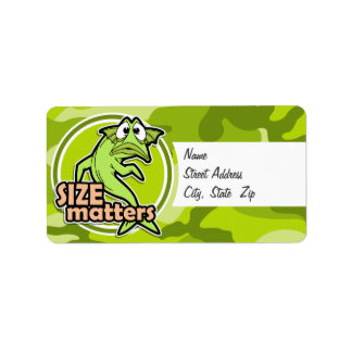 Funny Fishing; bright green camo, camouflage Custom Address Label
