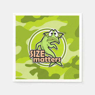Funny Fishing; bright green camo, camouflage Napkin