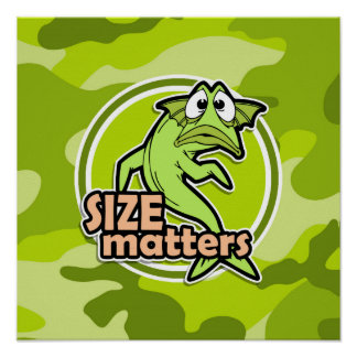 Funny Fishing; bright green camo, camouflage Poster