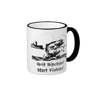Funny Fishing Cartoon and Saying Ringer Coffee Mug