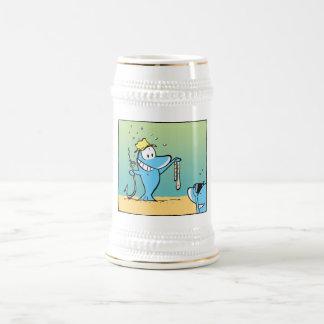 Funny Fishing Cartoon Beer Stein 18 Oz Beer Stein