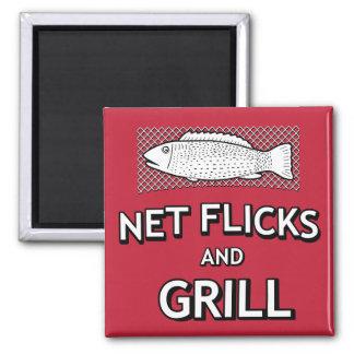 Funny Fishing Cast Net Fish Joke Parody Magnet