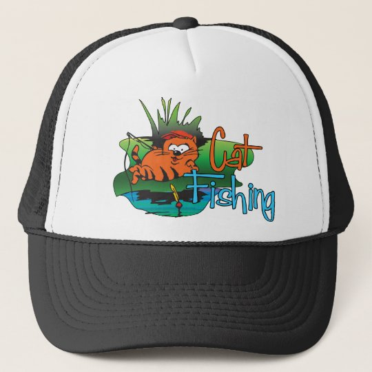 Funny Fishing - Cat Fishing Trucker Hat