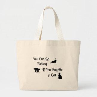 Funny Fishing Cat Jumbo Tote Bag