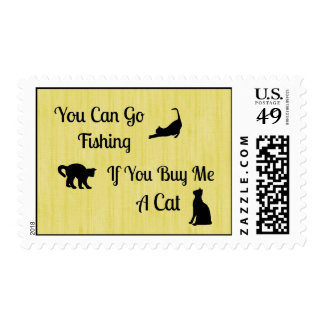 Funny Fishing Cat Postage Stamps