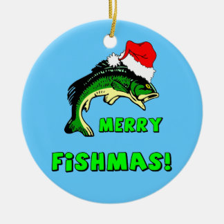 Funny fishing ceramic ornament