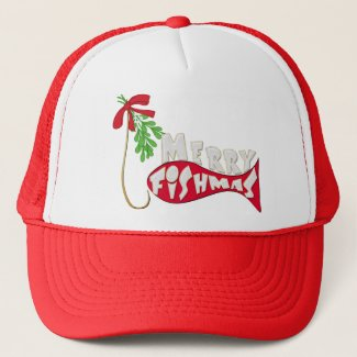 Funny Fishing Christmas Merry Fishmas Trucker Hat