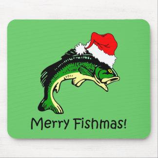 Funny fishing Christmas Mouse Pad