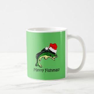 Funny fishing Christmas Classic White Coffee Mug
