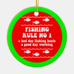 Funny fishing christmas ornament