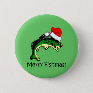 Funny fishing Christmas Pinback Button