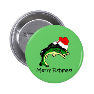 Funny fishing Christmas Pinback Button