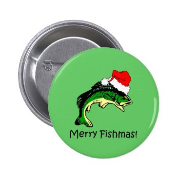 Christmas Themed Funny fishing Christmas Pinback Button