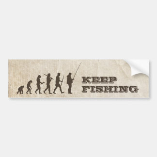 Funny Fishing Evolution bumper sticker