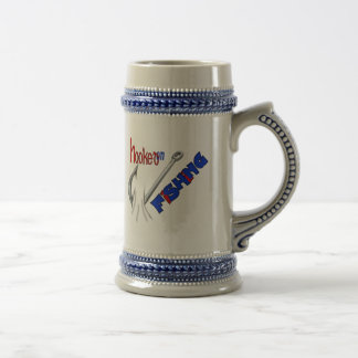 Funny Fishing Hooked On Fishing Beer Stein