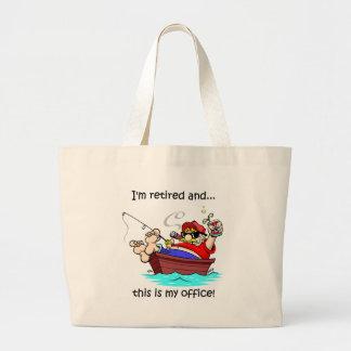 Funny fishing retirement jumbo tote bag