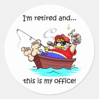 Funny fishing retirement classic round sticker