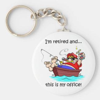Funny fishing retirement basic round button keychain