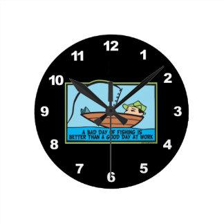 Funny Fishing Round Clock