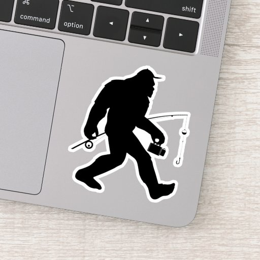 Funny Fishing Sasquatch Sticker Decal